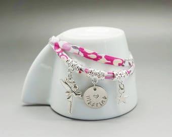 bracelet liberty rose fée étoile - médaille gravé enfant fairy godmother madrina- bracelet maman - mom gift