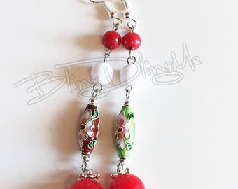 Summer earrings red and green