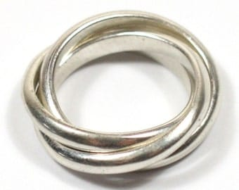 solid silver handmade chunky 3 band russian wedding ring - Russian Wedding Ring