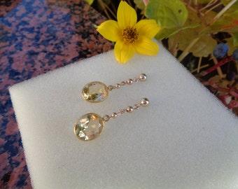 Citrine earrings, genuine citrine in 585 gold filled