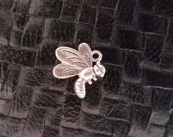Sterling Silver BEE Insect Charm Pendant, Detailed Design Fly Hummingbird Bug Dragonfly
