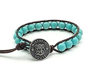 turquoise leather wrap bracelet, beaded wrap bracelet, leather bracelet, gemstone leather wrap bracelet, western bracelet