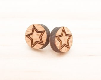 Earrings studs wood circles with stars bamboo plywood and hypoallergenic surgical steel stud backing with butterfly clasp
