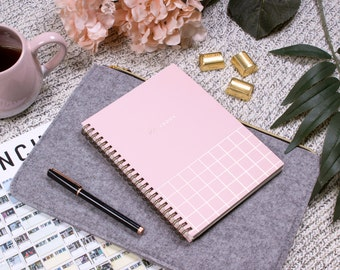 Spiral Notebook Modern Chic Pantone Pink with Rose Gold Foil