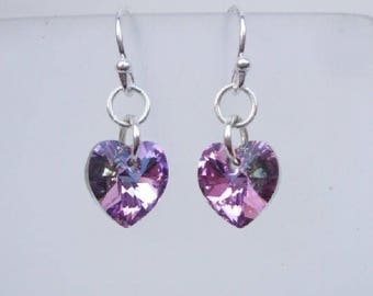 Purple Swarovski crystal heart earrings - Sterling Silver