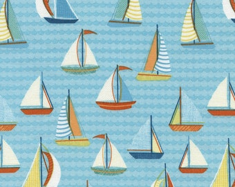 Sail Boats fabric in Aqua from the Splish Splash Collection by Gail Cadden for Timeless Treasures Fabric  #C4764 Aqua