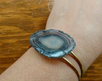 Agate Slice Cuff Bracelet