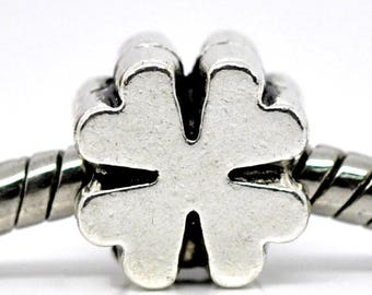 Good Luck Four Leaf Clover Charm Large Hole Bead Jewelry Findings (SP11109)