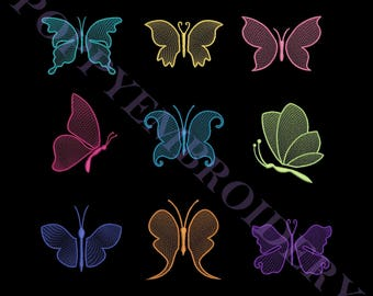 BUTTERFLY lace embroidery machine  designs  /  papillon dentelle motifs pour broderie machine / instant download