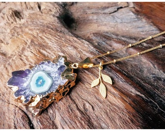 Amethyst Stalactite Necklace, Crystal Necklace, Amethyst Necklace, Boho Chic,  Amethyst Slice,  Amethyst Crystal, Gypsy, Gift, Gift for her