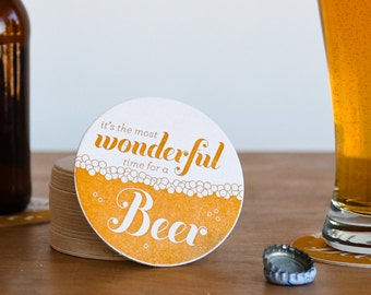 Most Wonderful Time For A Beer Letterpress Coasters