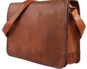 "Leather Handmade Designer J Wilson Bag Vintage Flap over 15"" Laptop Leather Tablet Case Messenger Bag GB105"