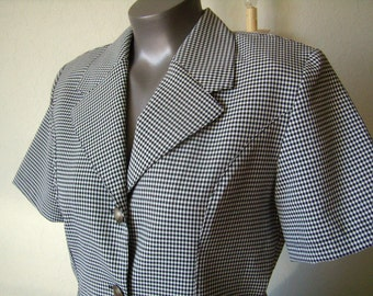 Jacket or blouse, short sleeves, black and white gingham, french Vintage, wife, size M/2,