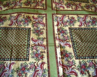 Provencal tablecloth, Provence, cotton fabric, green, red, classic French, home decor, breakfast on the grass.