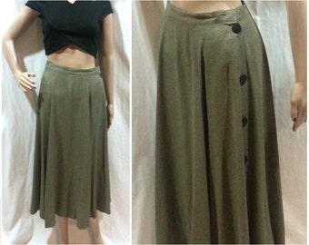 Midi Skirt Medium Button Up Side 80's / boho skirt rayon gray patterned full skirt long midi skirt button down 1980's vintage women's skirts