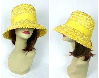 60's Yellow Straw Bucket Hat / summer hat raffia straw hat wide brim sun hat church hat vintage women's hats with ribbon 1960's grosgrain