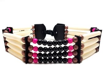 Handmade Traditional 4 Row Buffalo Bone Hairpipe Tribal Choker Necklace