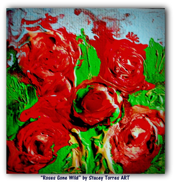 "ROSES GONE WILD, Acrylic Painting on 4 x 4"" Canvas Panel, red, Bordeaux, pink & green, Folk Art, Stacey Torres Artist, Flowers"