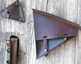 Leather Motorcycle Swingarm Bag, Saddle Bag, Dark brown, Biker Bag, Hardtail, Softtail