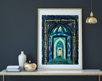 Islamic Painting, Islamic Art Print, Ramadan, Abstract painting, Blue and Gold