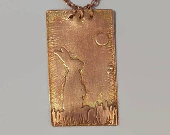 Hare gazing copper pendant, etched copper necklace, copper necklace, pagan hare  moon pendant, copper pagan necklace, copper hare necklace