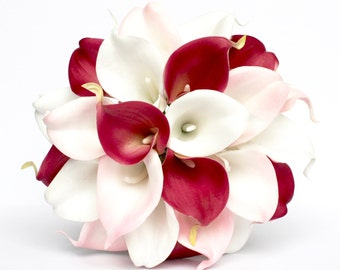 PINK WEDDING BOUQUET - fuchsia and Blush Pink Wedding Bouquet , Real Touch Calla Lily Bouquet , White fuchsia and Blush Pink