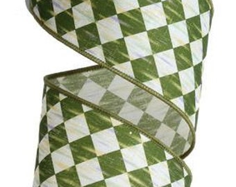 "2.5""X10yd Green/Cream Antique Diamond Ribbon/Wreath Supplies/RG116796"