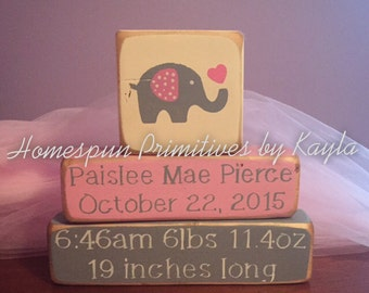 Personalized Baby Date Of Birth Block Set with Picture