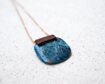 Blue Apatite Leather Necklace on Gold Chain / Genuine Healing Stone