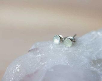 Small Prehnite Stud Earrings on 14k Gold Filled or Sterling Silver, 4mm Prehnite Bezel Set Gold Filled Gemstone Earrings, Prehnite Jewelry