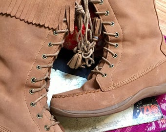 Vintage Fringe Moccasin Boot L. L. Bean with Suede Leather Womens Tall Fringe Moccasin Boot with zipper and rubber sole womens size 8.5