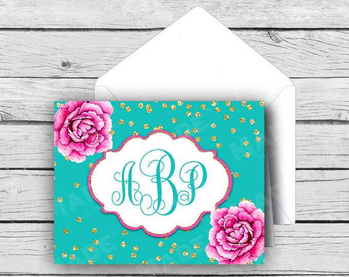 Script MONOGRAM Note Card Set - Pink Peonies Turquoise Gold Dot, Stationery, Printed Stationery, Thank You Cards