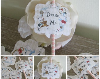 12 Alice in Wonderland Straw Pen/Cake Toppers Tea Party,Decoration,Birthday,Tea Party Picks,