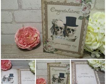 1 Handmade  Floral Bride & Groom Skull Wedding Card