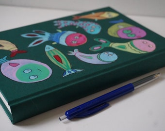 handpainted Diary sketchbook,notebook, fish, sea, under water, A5