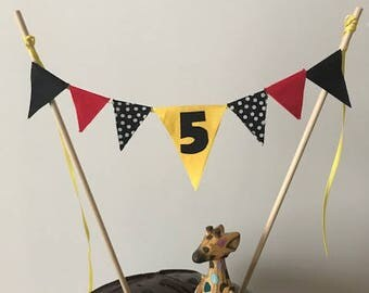 Birthday Cake Topper / Bunting / Fabric Pennant Flags /  Party / Black, Yellow, Red / Birthday Age Number Your Choice  Free Shipping