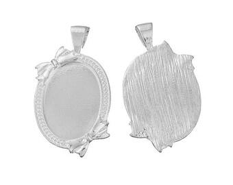 5 holders silver pendants 2 nodes 25x18mm cabochon