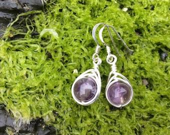 Amethyst earrings, wirewrap earrings, herringbone, drop earrings, gemstone earrings, gift idea, Gift for her
