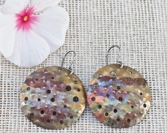 Rustic earrings, Rustic boho earrings, Big earrings, Dangle earrings, Disk earrings, Handmade earrings, Metalwork earrings