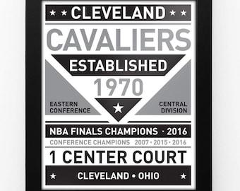 Cleveland Cavaliers Black & White Modern Team Print Framed