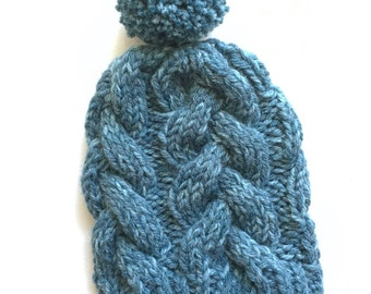 Blue tonal braided cable hat