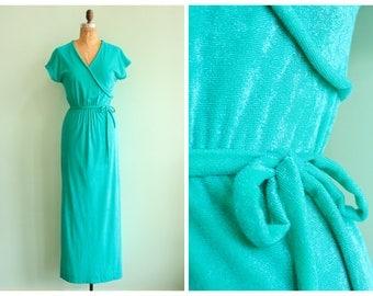 Vintage 1970s Teal Terrycloth Maxi Dress | Size Small/Medium