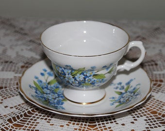 Rosina Bone China Teacup,  Blue Flower/Bouquet  Made in England Tea Cup, Floral Pattern