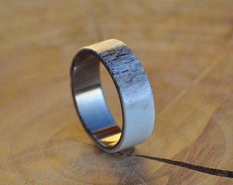 Deer Antler with Stainless Steel Men's Ring or Women's Ring