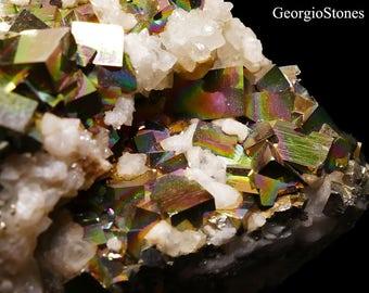 Rare Iridescent Pyrite and Calcite Mineral Specimen