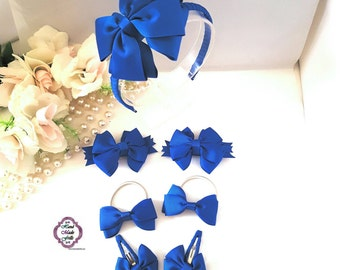 Blue Headband Set, Blue School Uniform 7pcs Headband Set, Royal Blue Girls Hair Bow Set