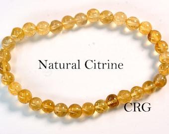 Round 6-7mm CITRINE Beads Stretch Bracelet (BR23DG)