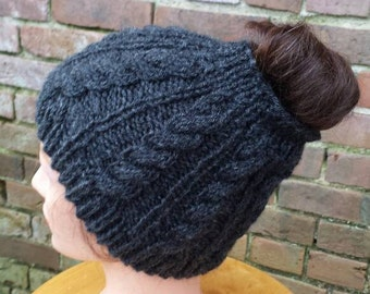 Janet Knit Ponytail Hat - Ponytail Cable Knit Hat - Ponytail Beanie - Open Top Hat