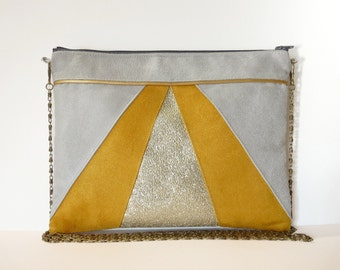 Pouch, shoulder bag grey, yellow, gold