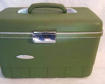 Forecast Green and Silver Small Suitcase, Sears Train Case, 1960 Hard Shell Suitcase, Travel Case, Travel Bag, Overnight Case, Sears Luggage